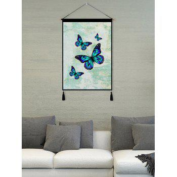 Butterfly Print Tassel Wall Art Hanging Painting - BLUE ZIRCON 1PC:18*26 INCH(NO FRAME)