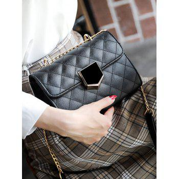 Rhombus Stitching PU Mini Chain Bag - BLACK
