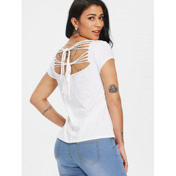 Ripped Cut Out Butterfly Print Graphic T-shirt - WHITE L