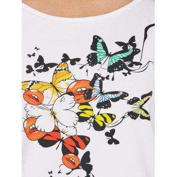 Ripped Cut Out Butterfly Print Graphic T-shirt - WHITE 2XL
