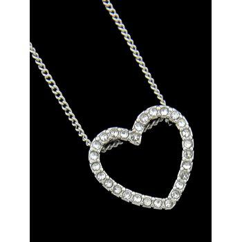 Rhinestone Heart Chain Pendant Necklace - SILVER