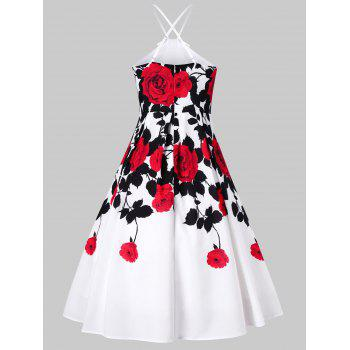 Floral Spaghetti Strap 50s Vintage Swing Dress - WHITE M