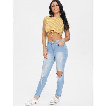High Waist Destroyed Jeans - LIGHT SKY BLUE M