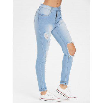High Waist Destroyed Jeans - LIGHT SKY BLUE XL