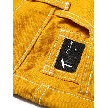 Torned Five-pocket Graphic Print Casual Shorts - BEE YELLOW 34