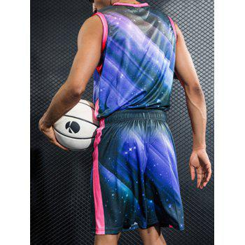 Stretchy Quick Dry Side Stripe Breathable Basketball Jersey Suit - BLUE ORCHID 2XL