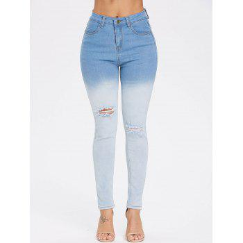 Ombre High Waist Ripped Jeans - LIGHT SKY BLUE 2XL