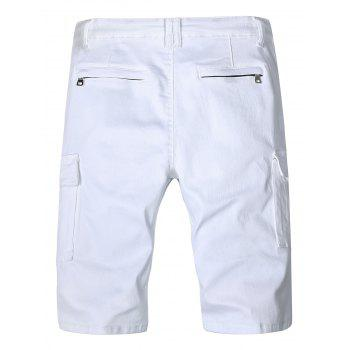 Flap Pockets Zipper Fly Moto Shorts - WHITE XS