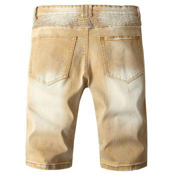 Ribbed Panels Destroyed Side Zip Hem Denim Shorts - LIGHT KHAKI S