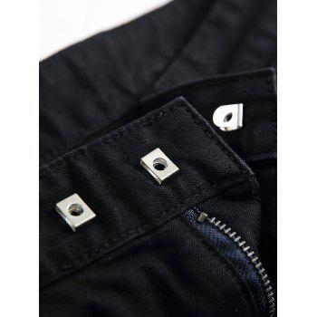Zipper Fly Pocket Design Moto Shorts - BLACK M