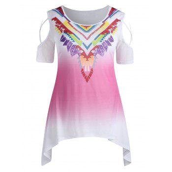 Plus Size Cutout Tribal Print Tunic T-shirt - LIGHT PINK 5X