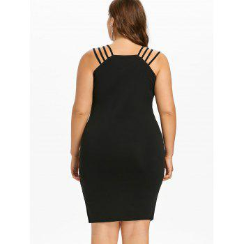Plus Size Lace Trim Asymmetric Bodycon Dress - BLACK 5X