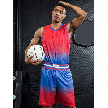 Quick Dry Breathable Contrast Color Basketball Jersey Sport Suit - RED L