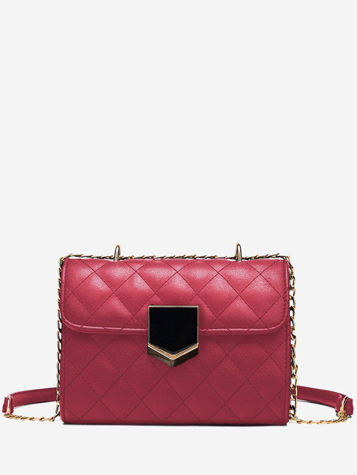 Rhombus Stitching PU Mini Chain Bag - RED