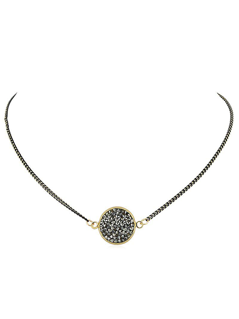 Rhinestone Chain Pendant Necklace - BLACK