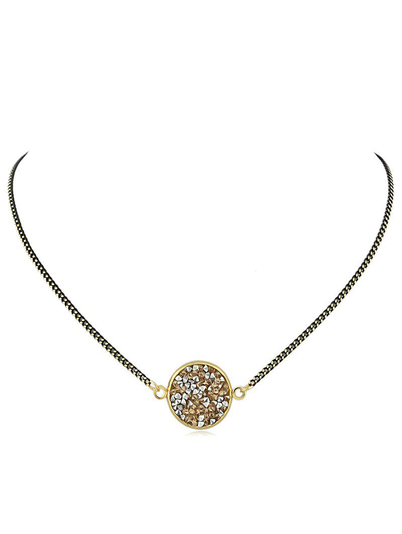 Rhinestone Chain Pendant Necklace - CHAMPAGNE