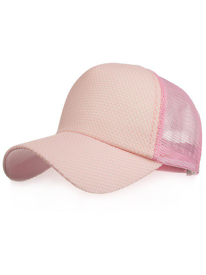 Solid Color Mesh Breathable Snapback Hat - PINK
