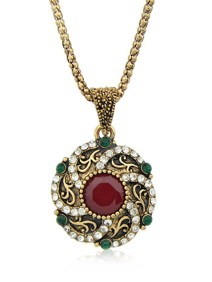 Rhinestone Alloy Chain Pendant Necklace - RED