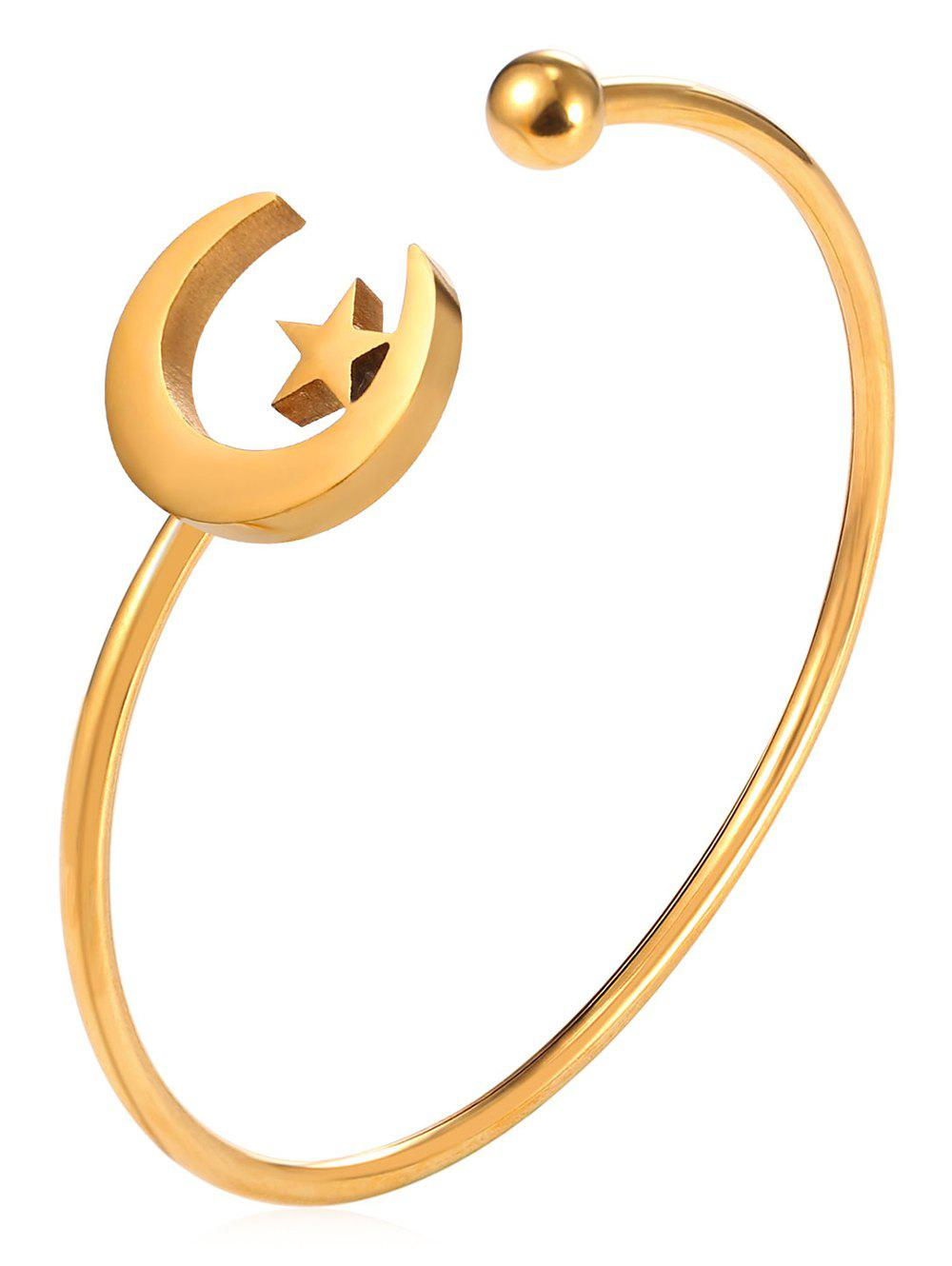 Moon and Star Alloy Cuff Bracelet - GOLD