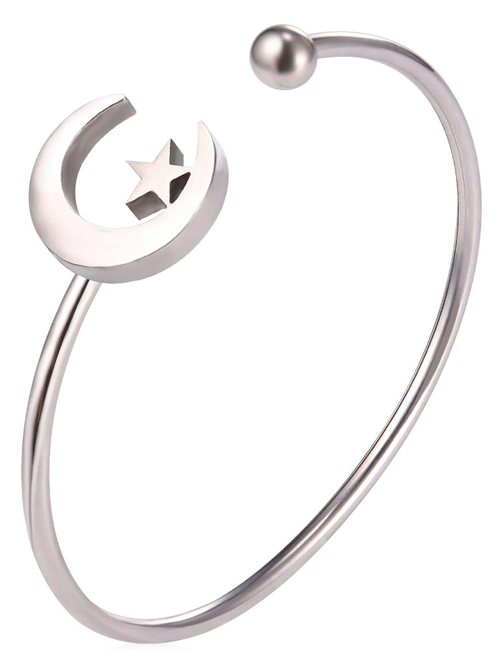 Moon and Star Alloy Cuff Bracelet - SILVER