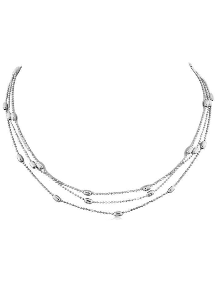Beads Layered Alloy Necklace - SILVER