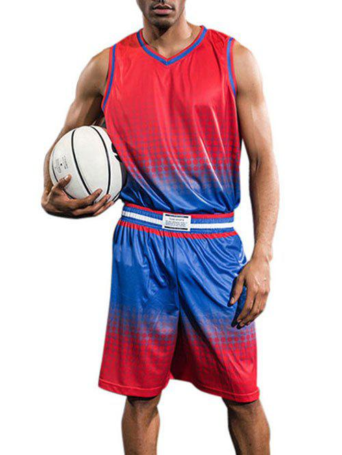 Quick Dry Breathable Contrast Color Basketball Jersey Sport Suit - RED 2XL