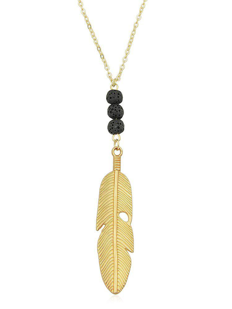 Alloy Feather Chain Pendant Necklace - GOLD