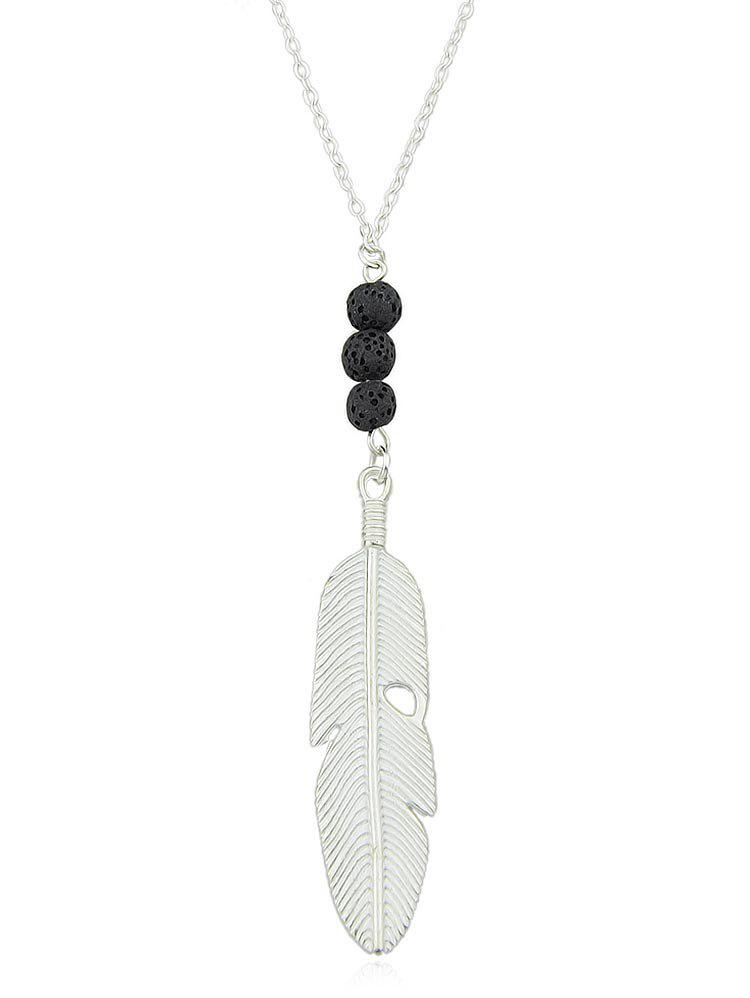 Alloy Feather Chain Pendant Necklace - SILVER