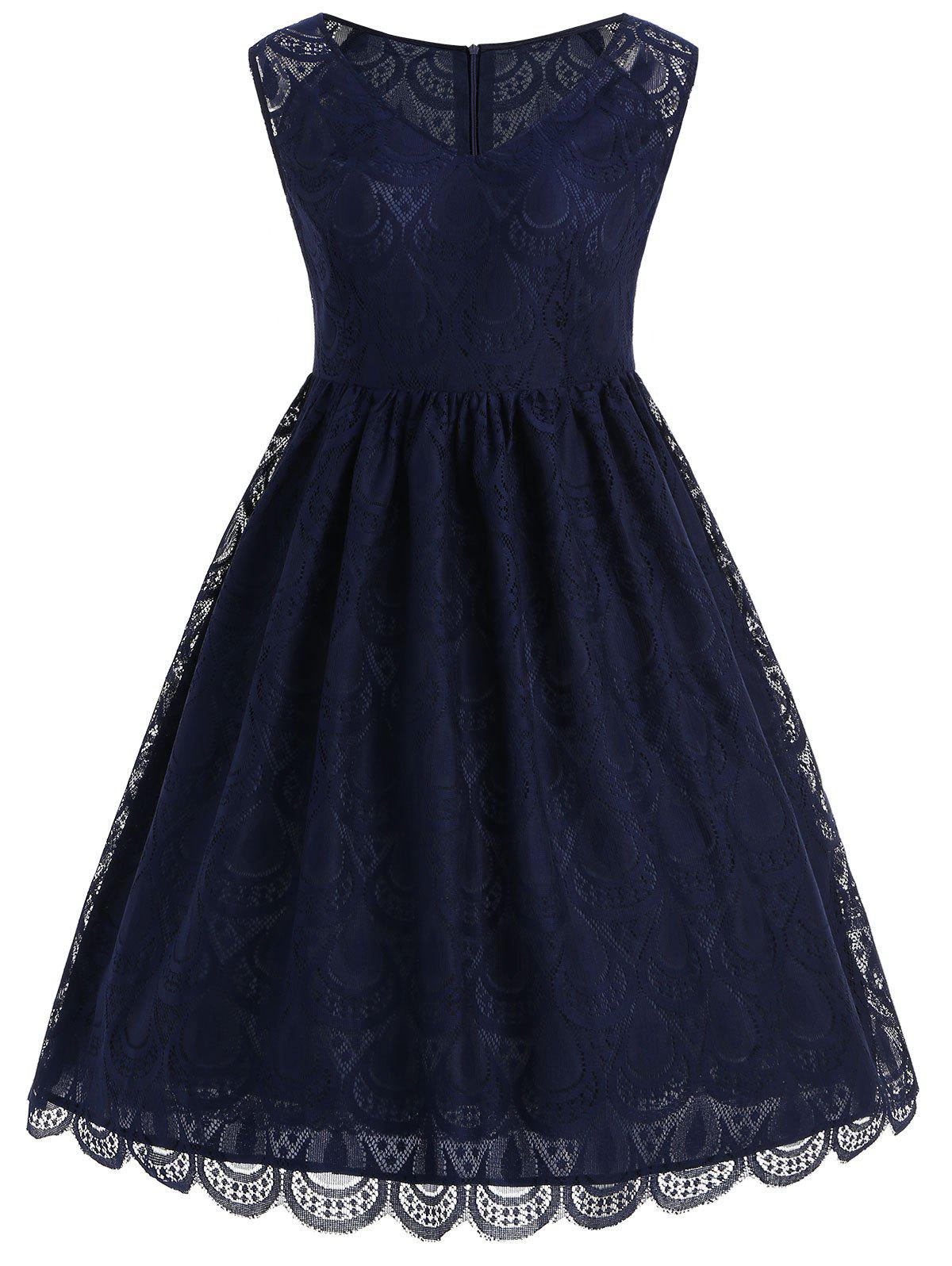 Lace Overlay Fit and Flare Dress guipure lace overlay fit and flare dress