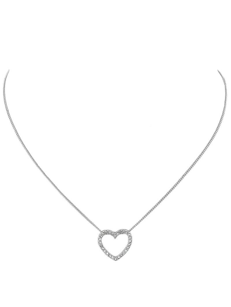 Rhinestone Heart Chain Pendant Necklace rhinestone heart chain pendant necklace