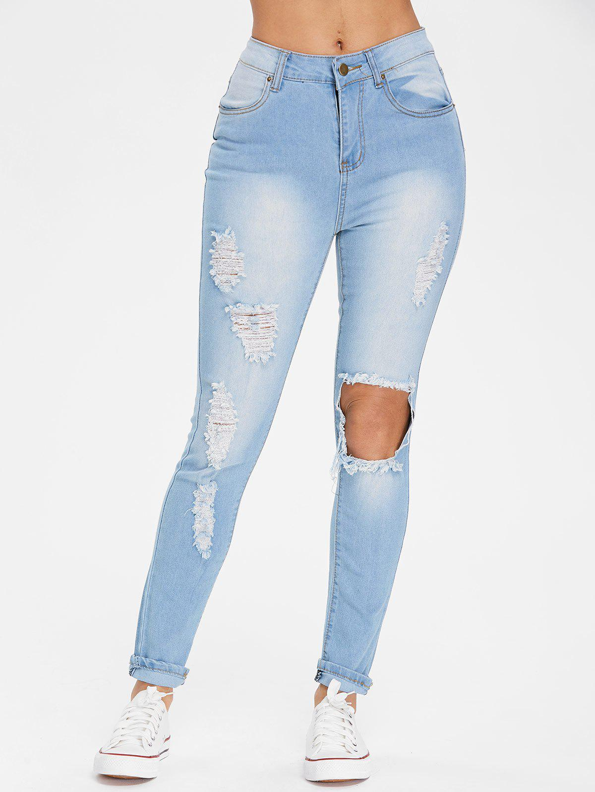High Waist Destroyed Jeans - LIGHT SKY BLUE S