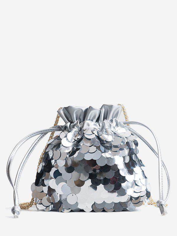 Strawstring Fish Scale Sequins Crossbody Bag - SILVER