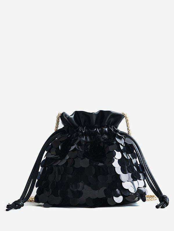 Strawstring Fish Scale Sequins Crossbody Bag - BLACK