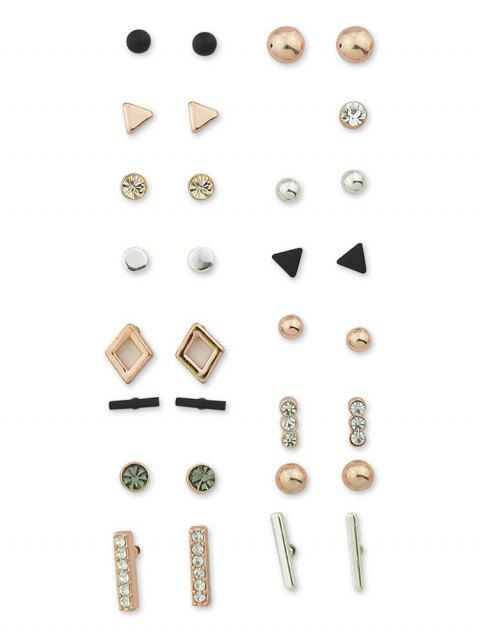 Rhinestone Stud Earrings Set - multicolor