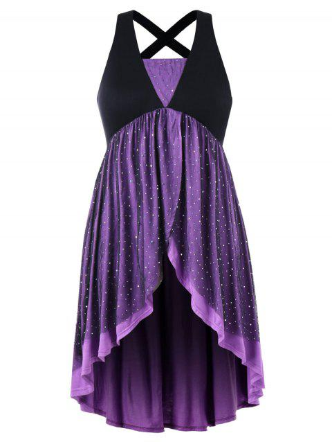 Plus Size Crisscross Sparkly Overlap Dress - PURPLE 4X