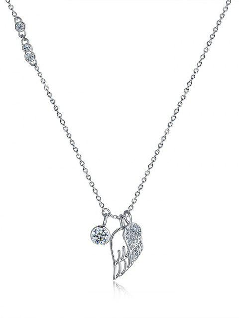 Rhinestone Wing Sterling Silver Pendant Necklace - SILVER