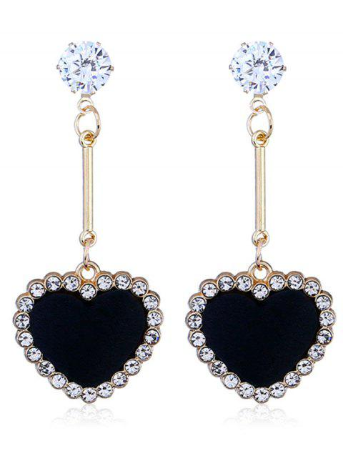Faux Diamond Heart Stud Drop Earrings - BLACK