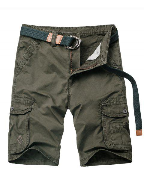 Zipper Fly Flap Pocket Applique Cargo Shorts - ARMY GREEN 2XL