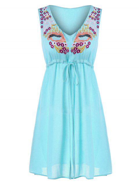 Drawstring Embroidered Mini Dress - ROBIN EGG BLUE L