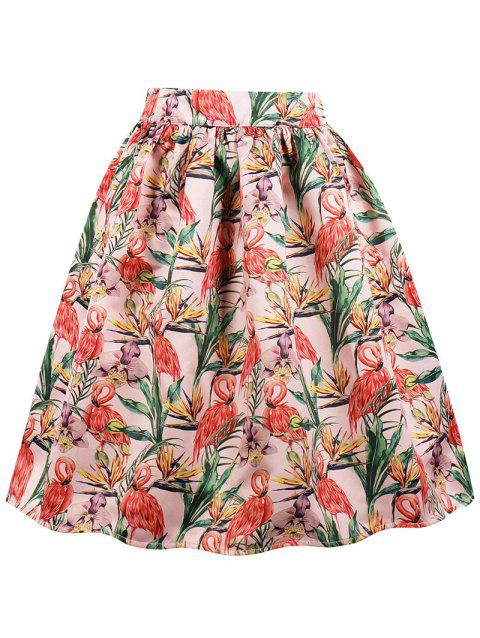 Pocket Crane Print Flared Midi Skirt - LIGHT CORAL 2XL