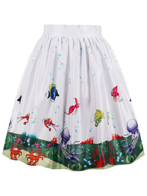 Sea Scenery 3D Print Midi A Line Skirt - WHITE L