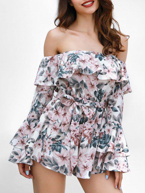 Off The Shoulder Floral Print Romper - multicolor M