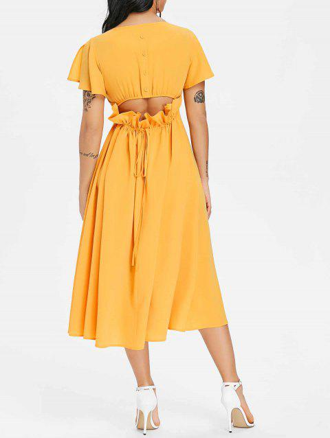 Open Back Drawstring Chiffon Flowy Dress - SCHOOL BUS YELLOW XL