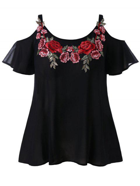 Plus Size Embroidery Open Shoulder Blouse - BLACK 4X