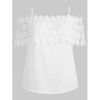 Plus Size Open Shoulder Lace Crochet Blouse - WHITE L