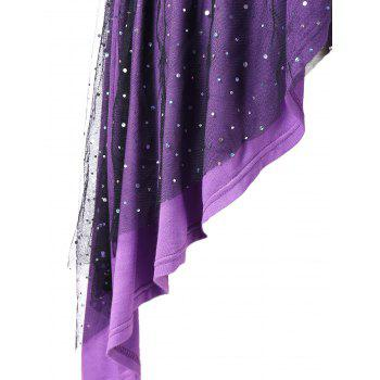 Plus Size Crisscross Sparkly Overlap Dress - PURPLE 3X