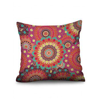 Mandala Flowers Print Linen Sofa Pillowcase - multicolor W17.5 INCH * L17.5 INCH