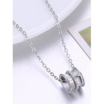 Stylish Rhinestone Inlaid Round Necklace - SILVER