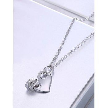 Rhinestone Inlaid Heart Party Wedding Pendant Necklace - SILVER