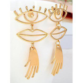 Eyes Lips Hands Design Stud Dangle Earrings - GOLD